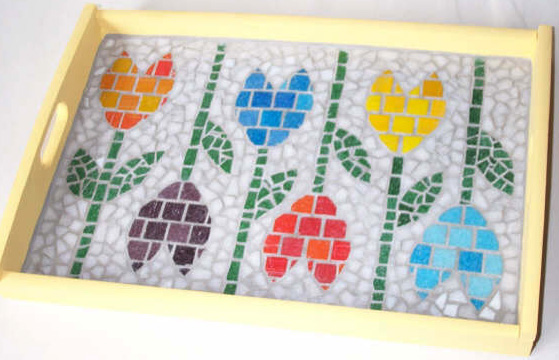 Wooden Tray Tulips theme