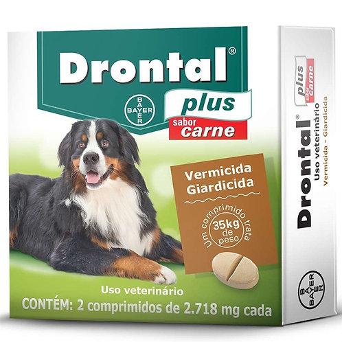 Vermífugo Cães Drontal Plus sabor Carne 35kg 2 comprimidos - Bayer
