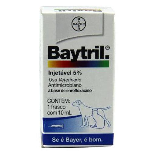 Antibiótico Baytril 5% Injetável 10ml Cães e Gatos - Bayer