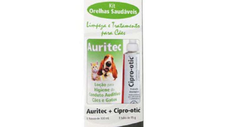 Combo Higiêne Orelhas Pet com 1 Cipro-Otic15gr e 1 Auritec100ml - Syntec