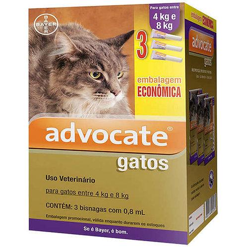 Antipulgas Combo Advocate Gatos de 4kg até 8kg 0,8ml - Bayer