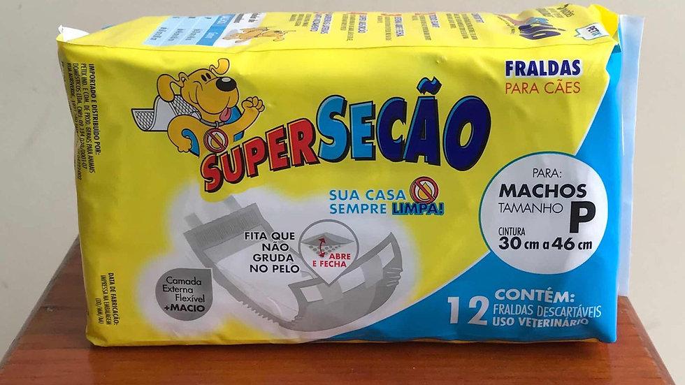 Fralda tamanho P Cães Machos 12 unidades- Super Secão Petix