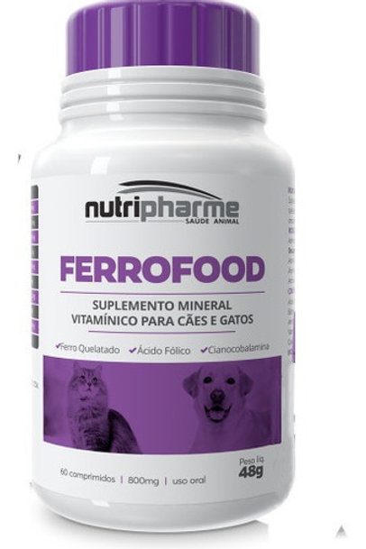 Suplemento Vitamínico  para Pet Ferrofood 60 comprimidos - Nutripharme