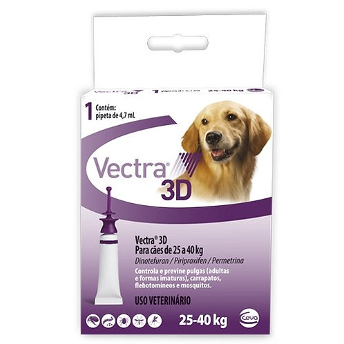 Antipulgas Vectra 3D Cães de 25kg a 40kg 1 pipeta -Ceva