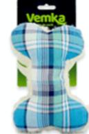 Brinquedo Cães Osso Xadrez Azul com apito -Vemka