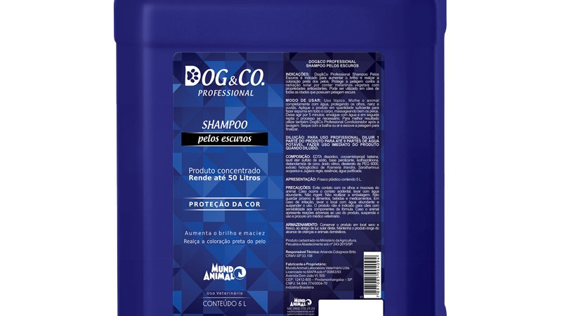 Linha Pro. Shampoo Pelos Escuros 5L Cães - Dog&Co
