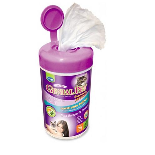 Lenços Umedecidos Gatos 75 unid - Genial Pet