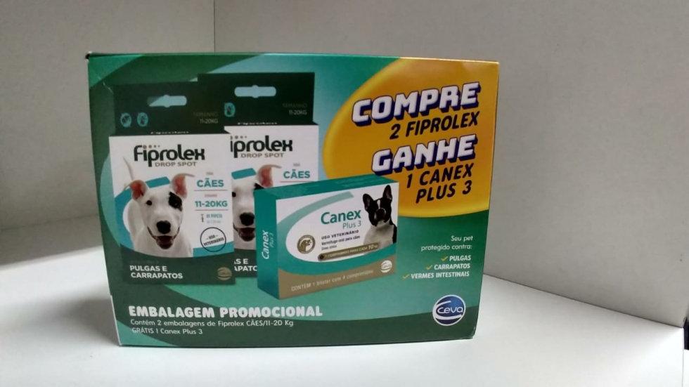 Antipulgas e Vermífugo Combo Cães 2 Fiprolex 11kg a 20kg + 1 Canex Plus 3 - Ceva