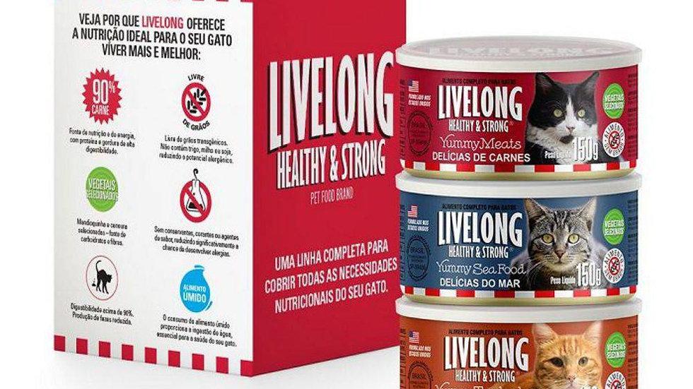 Alimento Úmido Livelong Gatos - Combo 3 Latas de 150g Cada