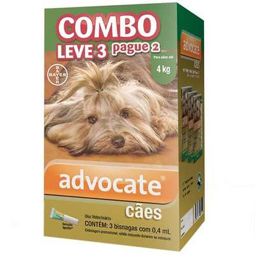 Antipulgas Combo Advocate Cães até 4kg 0,4ml - Bayer