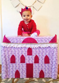 Iduna and the fuzzy castle I made for he