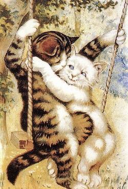 Kitties on a swing