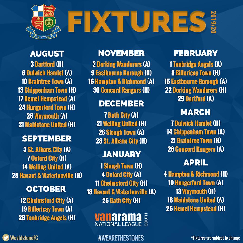 Full 2019/20 League Fixtures Released!