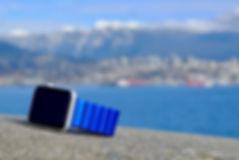 JUUK 42mm Cobalt blue Ligero Apple Watch Band on stone overlooking ocean