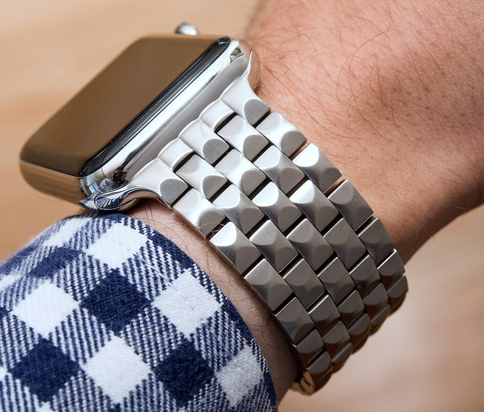 JUUK 42mm Brushed Locarno Stainless Steel Apple Watch Band on blue checkered shirt