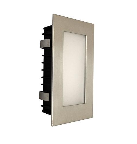 AT9501 Satin chrome rectangular stair light - opal fascia