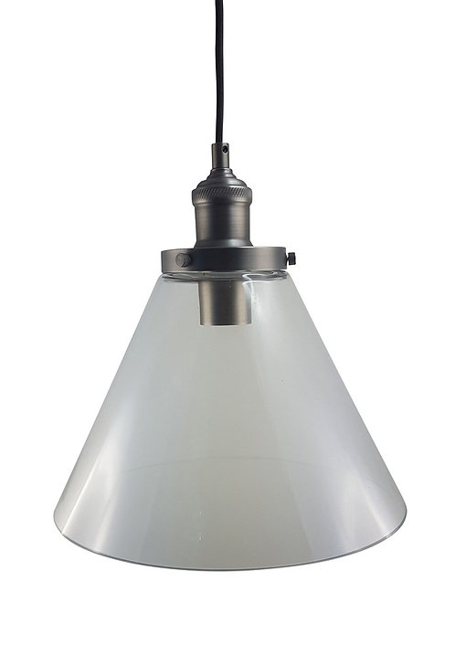 P1720LAN Large clear conical glass with industrial look cord