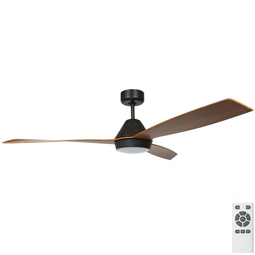 "Fanco Eco Breeze DC 52"" (1320mm) Ceiling Fan with LED - Black with Koa Blades"