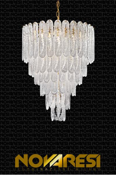 Novaresi Pini 24KT Gold Chandelier with White Morano Glass