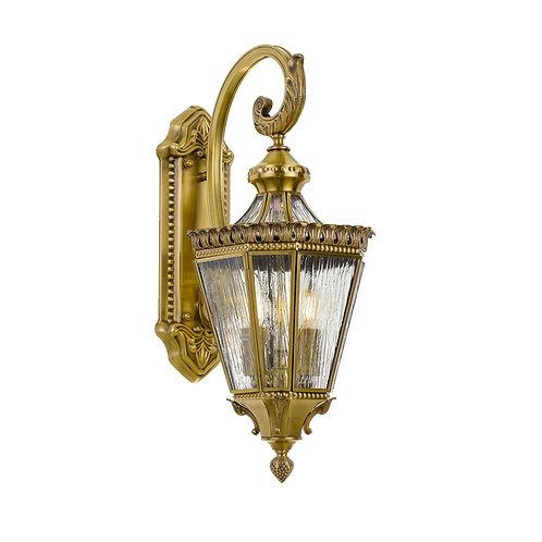 Scroll antique brass 2lt exterior wall light