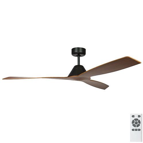 """Fanco Eco Breeze DC 52"""" (1320mm) Ceiling Fan - Black with Koa Blades"""