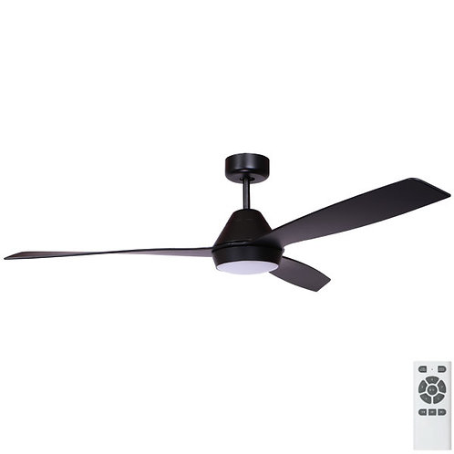"Fanco Eco Breeze DC 52"" (1320mm) Ceiling Fan with LED - Black with Black Blades"