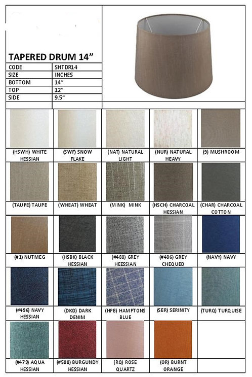 """14"""" tapered drum shades- assorted colours"""