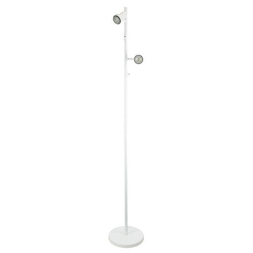 Twin LED white spotlight floorlamp