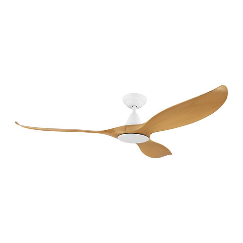 "Noosa DC 52"" white/bamboo ABS fan with remote"