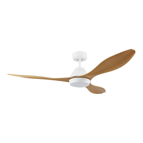 """Nevis DC 52"""" white/bamboo ABS fan with remote & LED light"""