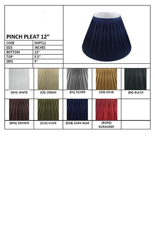 "12"" Pleated shades- assorted colours"