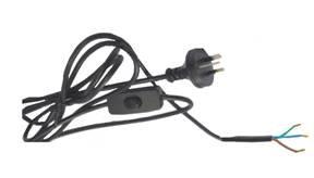 Black 3 Core Switched Flex & Plug