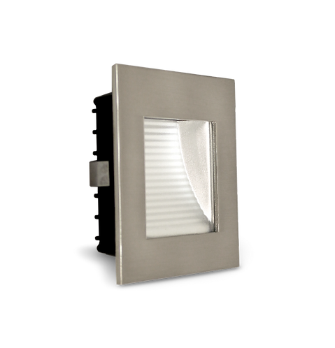 AT9500 Satin Chrome square stair light- clear fascia