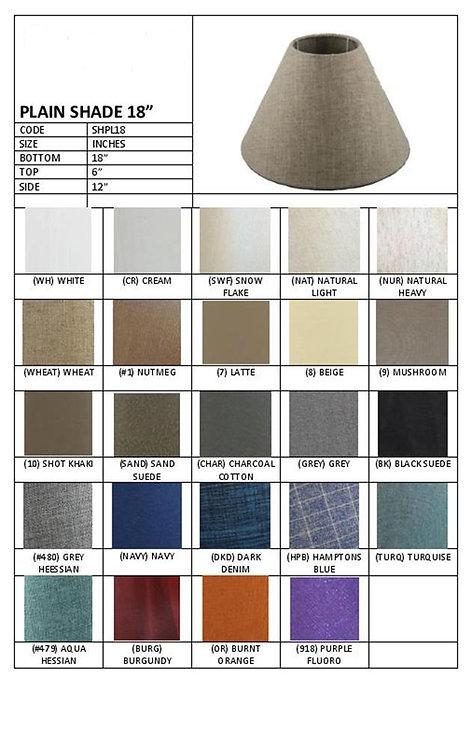 "18"" plain coolie shades- assorted colours"