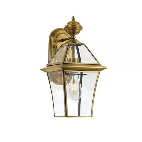 Rye antique brass 1lt exterior wall light