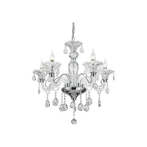 LED Royal 5 Light Crystal Pendant Light - Chrome