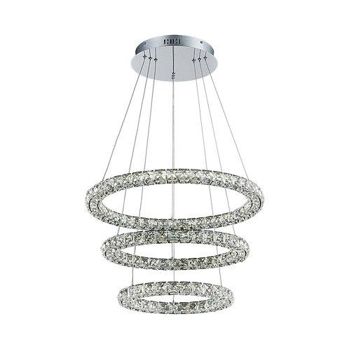 LED Argus 3 Ring Crystal Pendant