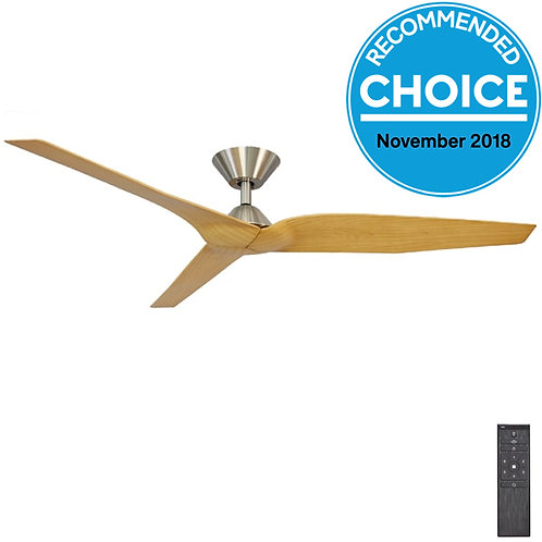 """Fanco Infinity-i DC 54"""" (1370mm) Ceiling Fan - Brushed Chrome / Timber Look"""