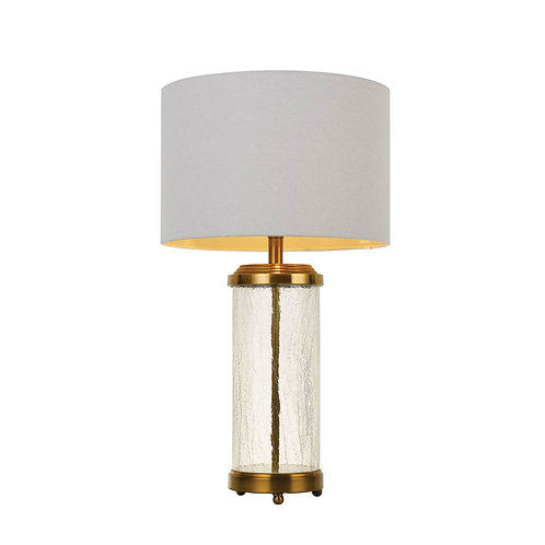 Chris antique brass and glass table lamp