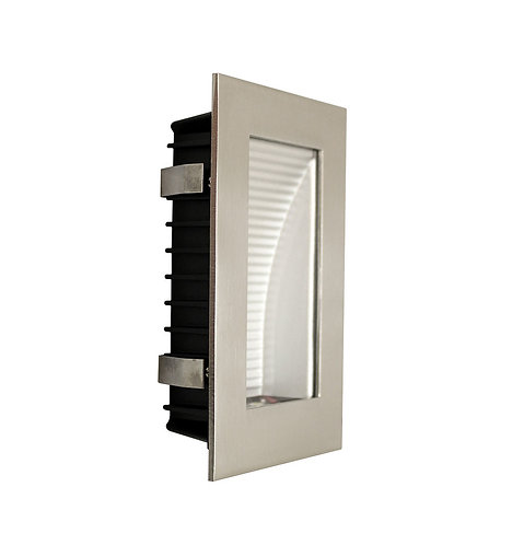 AT9501 Satin Chrome rectangular stair light- clear fascia