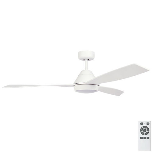 """Fanco Eco Breeze DC 52"""" (1320mm) Ceiling Fan with LED - White with White Blades"""