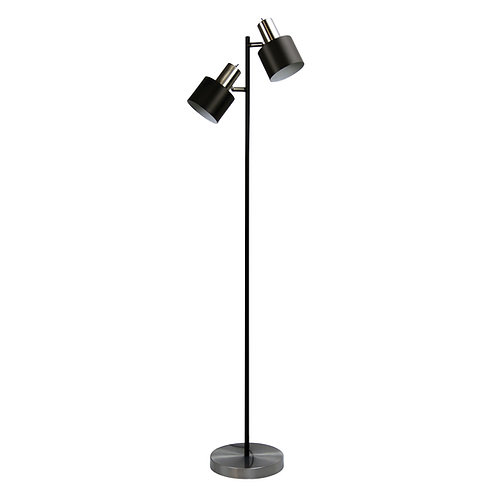 Ari black and brushed chrome twin floor lamp