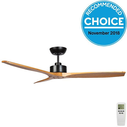 "Fanco Wynd DC 54"" (1370mm) Ceiling Fan - Black with Teak Blades"