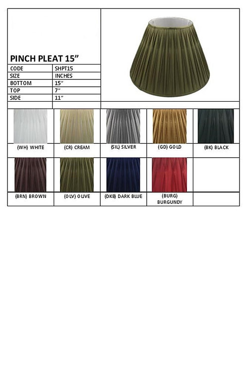 "15"" Pleated shades- assorted colours"