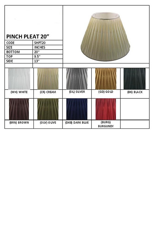 "20"" Pleated shades- assorted colours"