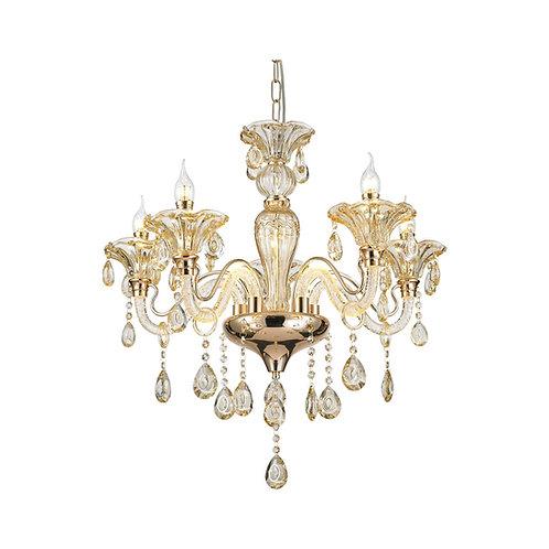 LED Royal 5 Light Crystal Pendant Light - Gold
