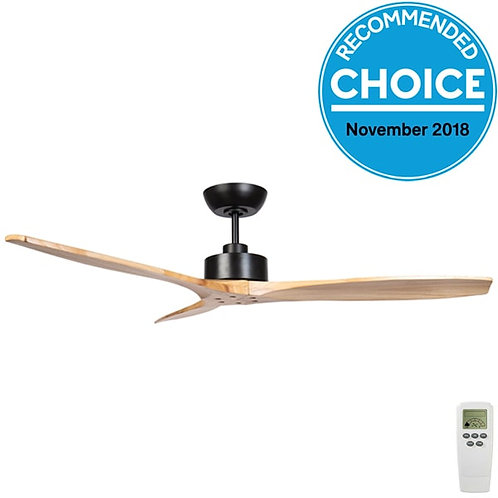 "Fanco Wynd DC 54"" (1370mm) Ceiling Fan - Black with Natural Blades"