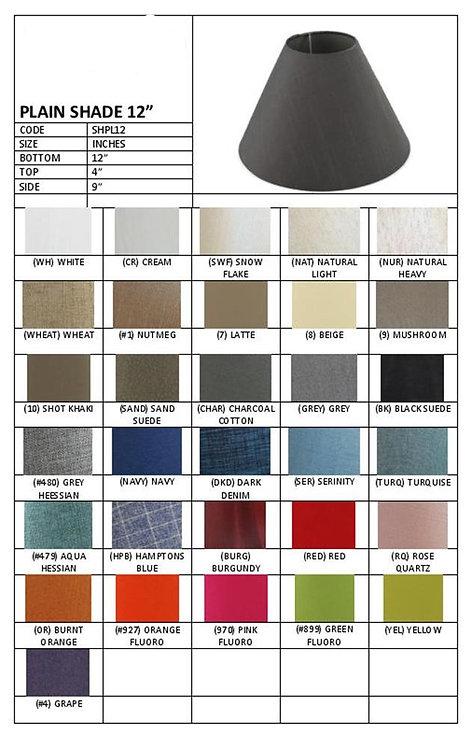"12"" plain coolie shades- assorted colours"