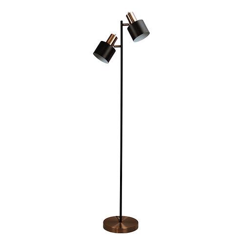 Ari black and copper twin floor lamp