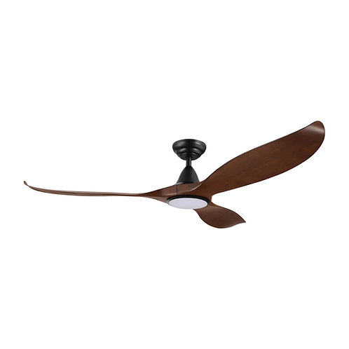 "Noosa DC 60"" black/ walnut ABS fan with remote & LED light"
